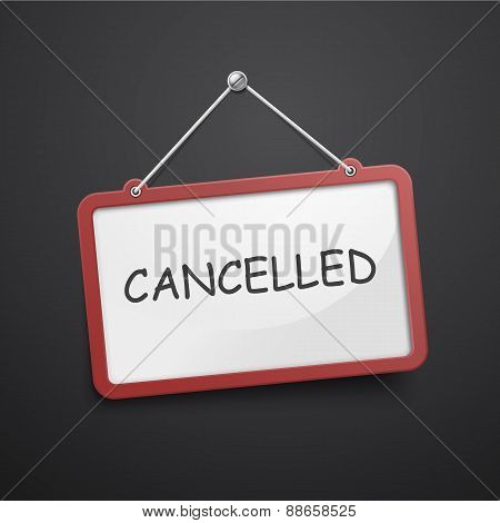 Cancelled Hanging Sign Isolated On Black Wall