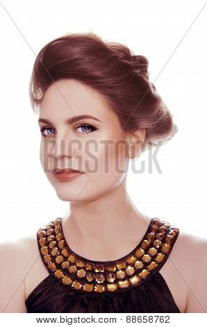 Beautiful Woman With Brown And Terracotta Makeup, Wearing Golden Dress