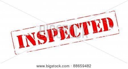 Rubber stamp with word inspected inside vector illustration