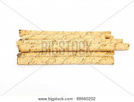 Waffle Rolls Isolated On White Background