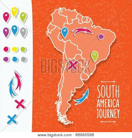 Orange hand drawn South America map with map pins vector illustration