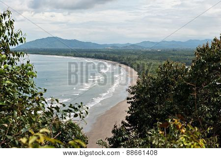 Karambunai Beach Shoreline Seen From The Peak Of A Hill At Rasa Ria Resort, Tuaran, Sabah.