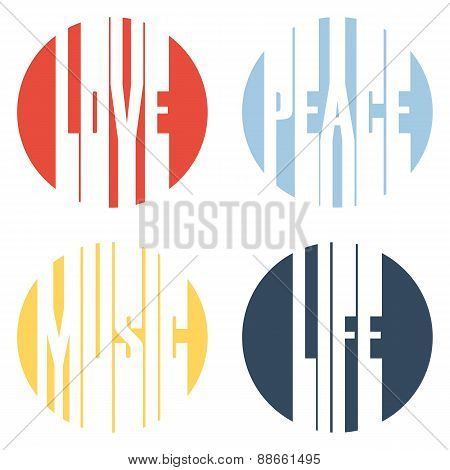 Peace, Love, Music, Life text design.