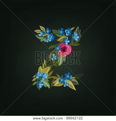 z letter. Flower  alphabet. Colorful font. Lowercase.