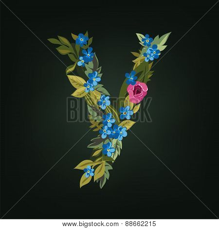 y letter. Flower  alphabet. Colorful font. Lowercase.