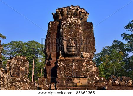 Faces of Buddha in Bayon Temple, Angkor Wat.