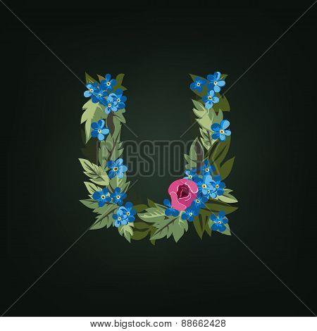 u letter. Flower  alphabet. Colorful font. Lowercase.