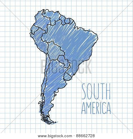 Vector pen hand drawn South America map on paper illustration