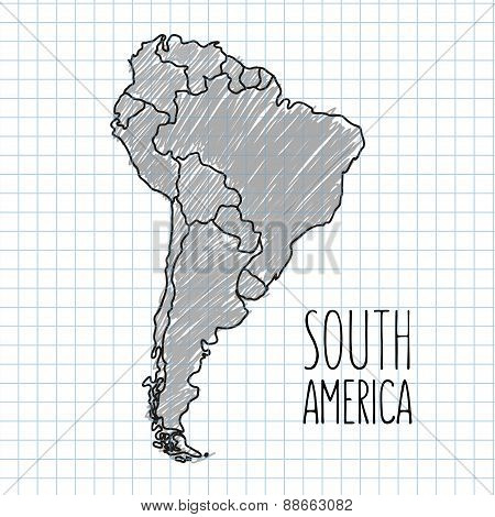 Grey vector pen hand drawn South America map on paper illustration