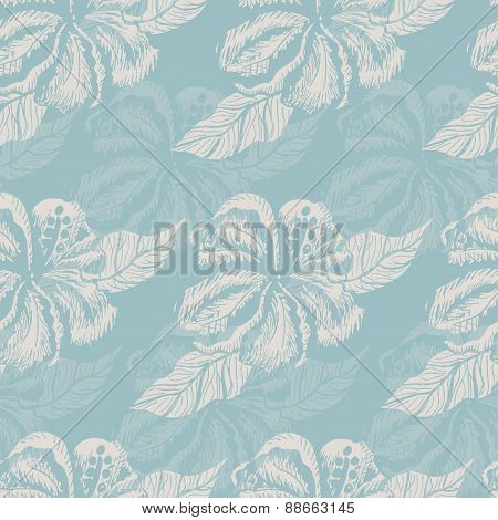 Seamless pattern with white flowers on a blue background
