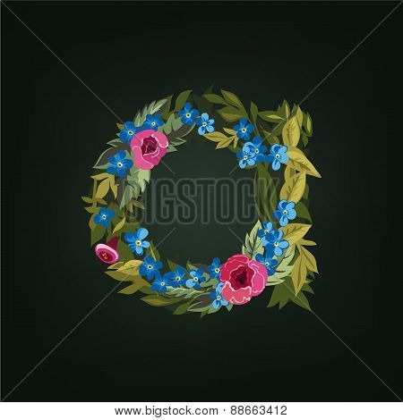 A letter. Flower  alphabet. Colorful font. Lowercase.
