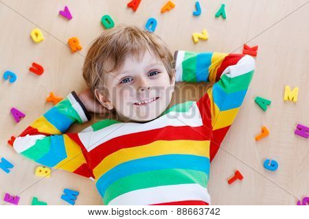 Kid Boy With Colorful Letters, Indoor