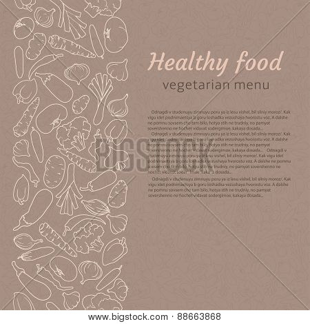 vector illustration of healthy food. vegetarian menu