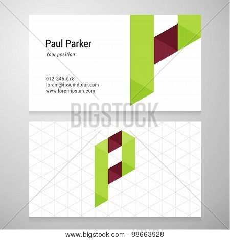 Modern Letter P Origami Business Card Template