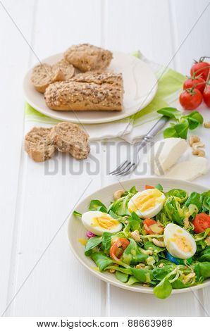 Lamb's Lettuce Salad With Eggs And Nuts