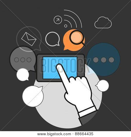 Communicating dia modern smartphone concept. Simple line design illustration