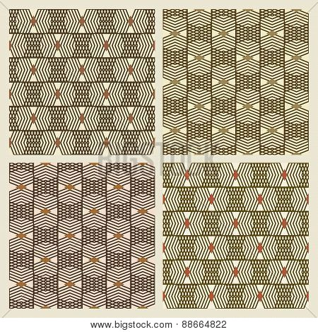 Set Of Four Seamless Patterns With Geometric Patterns In A Checkerboard Manner.eps