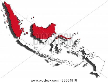Outline Of Indonesia With The National Flag