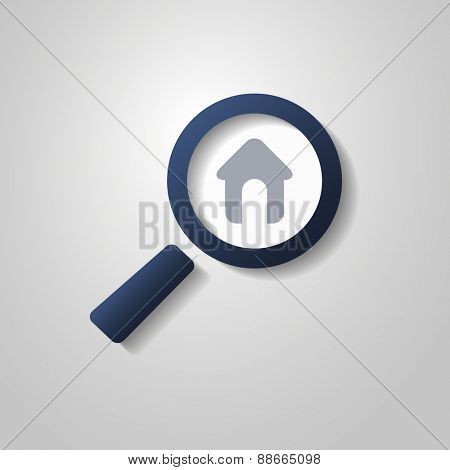 Real Estate Symbol Concept with Magnifying Glass and House Icon