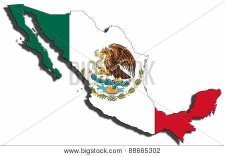 Outline Of Mexico With The National Flag