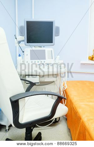 Interior of medical room with ultrasound diagnostic equipment