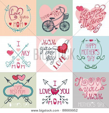 Mothers day cards set.Arrows, decor elements,hearts,lettering