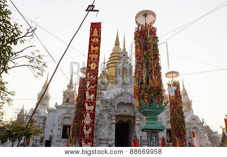 Colorful Paper Decoration In Front Of Buddhism Church