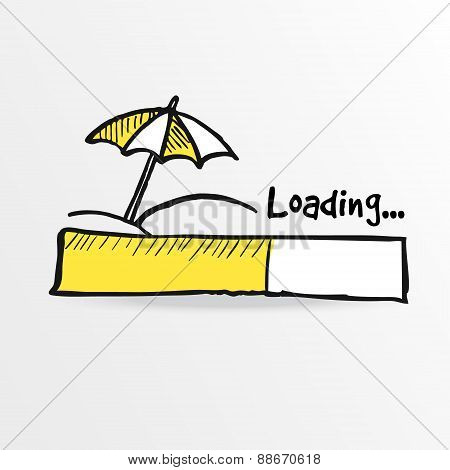 Loading Bar With Parasol On The Beach, Summer Holiday Concept, Vector
