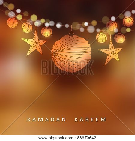 Illuminated Paper Lanterns And Stars With Lights, Vector