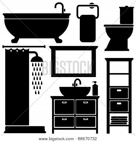 Bathroom Toilet Black Icons Set, Isolated Vector Silhouettes