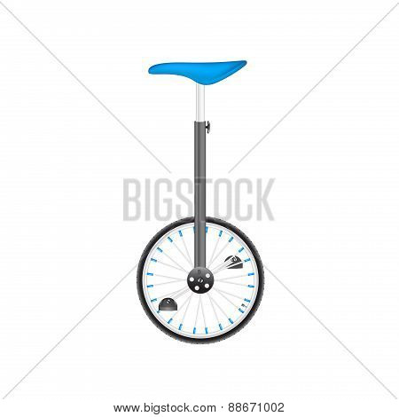 Circus bike in black and silver design with blue seat