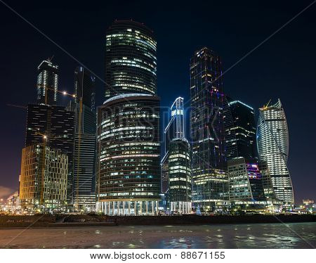 Business Center Moscow City at night.