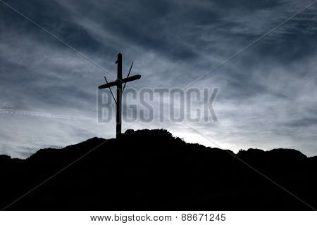 Wood crucifix mountain