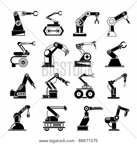 robotic hand icons, industrial robots
