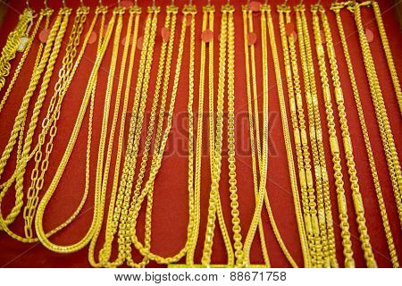 collection of golden necklace.