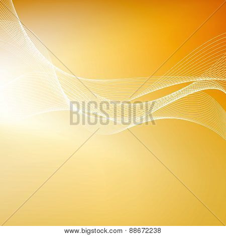Abstract Orange Background With Lines. Vector Illustration