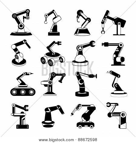 robotic arm icons, industrial robots