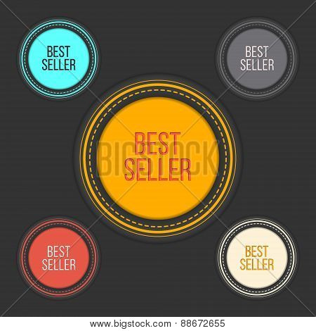 Best seller choice sign set in simple and clean design. Web shop award labels. Internet library elem