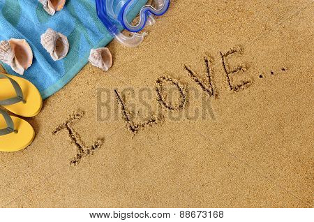 Beach Background With Unfinished Love Message