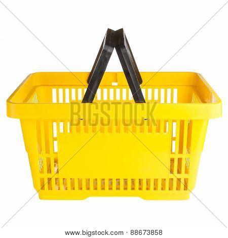 Empty yellow shopping basket