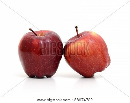 Red Apples Lean Against Each Other Isolate On White