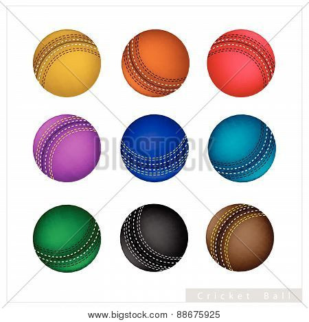 Set Of Cricket Ball On White Background