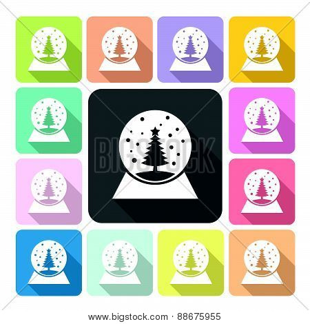 Spherical Snow Globe Icon Color Set Vector Illustration