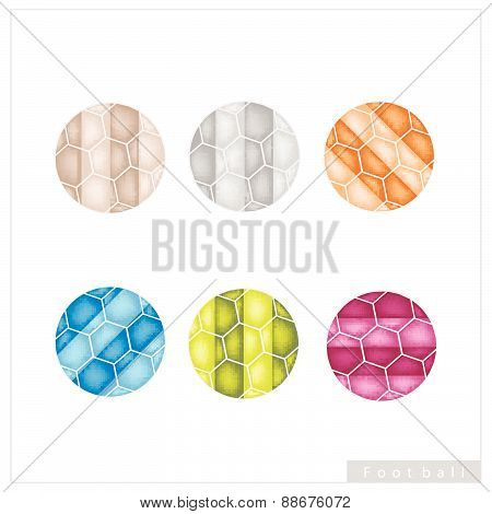 Set Of Multi Colored Footballs Or Soccer Balls
