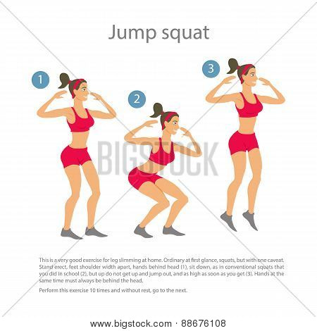 Sports Silhouettes. Workout, Girl In Red Shorts And A Red Shirt Doing Jump Squats