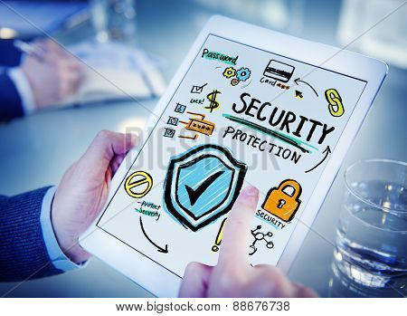 Businessman Digital Devices Security Protection Firewall Concept