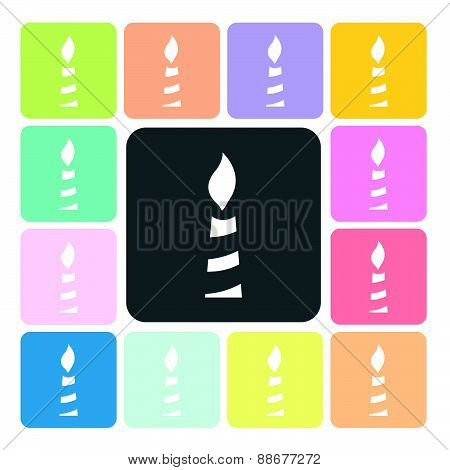 Candle Icon Color Set Vector Illustration