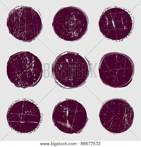 Circles vector set of grunge.