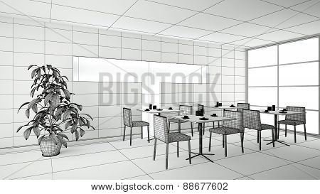 Interior Rendering Of A Bar Without Textures