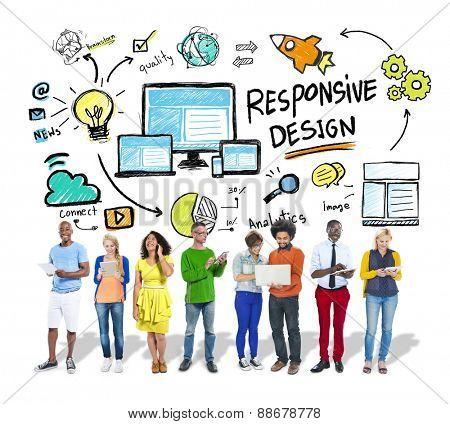 Responsive Design Internet Web Diversity People Technology Concept